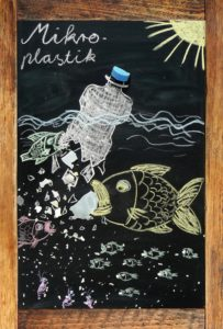 Microplastics in the seas (decay of bottle)